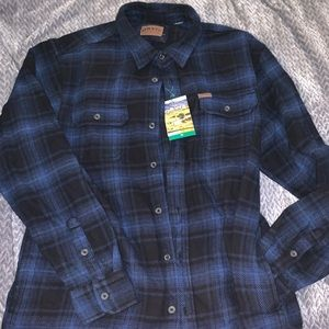 Orvis thick flannel top with pockets